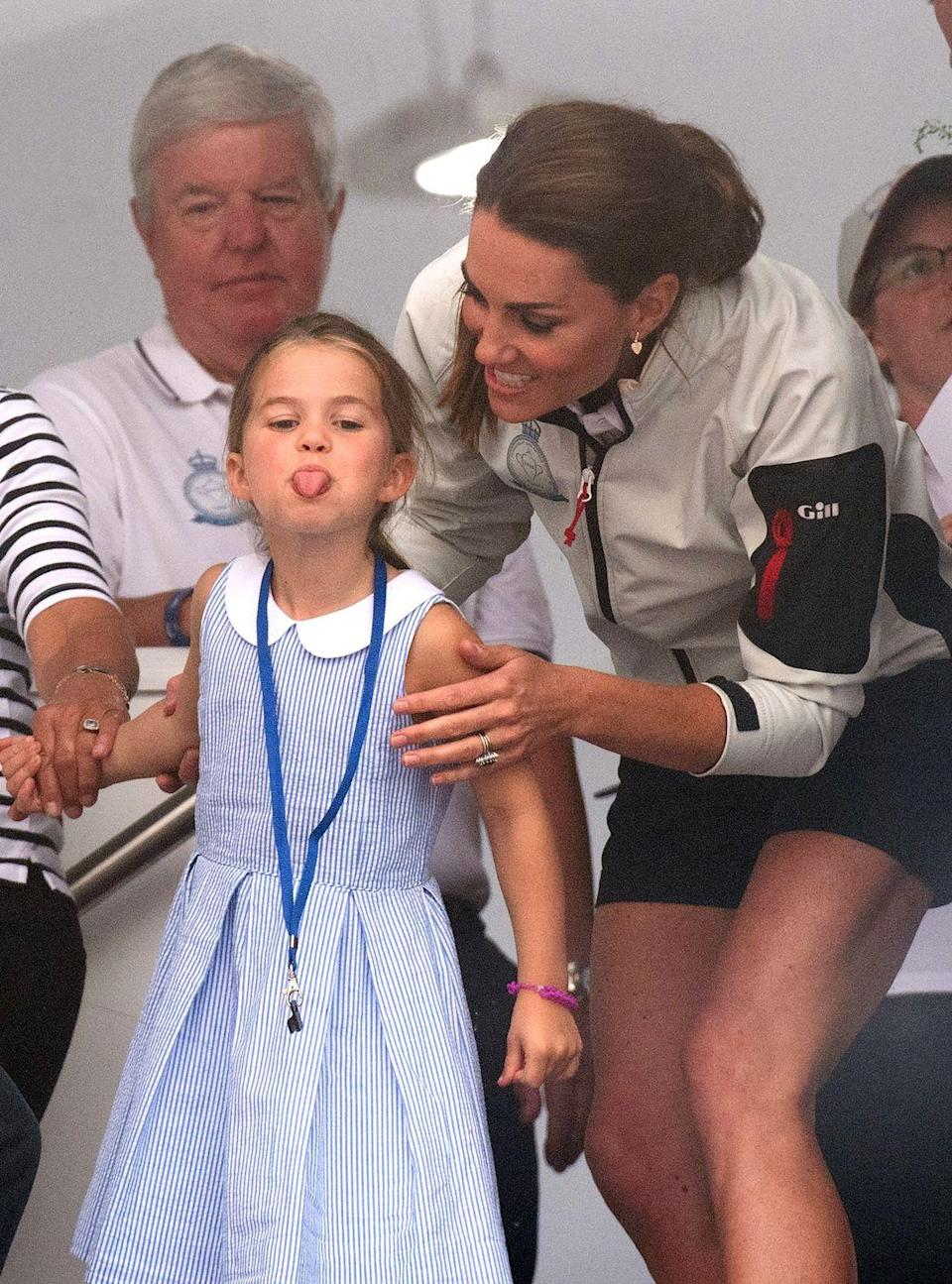 <p>Even royal children can be a bit naughty every now and then. The young royal stuck her tongue out at photographers while attending the King's Cup Regatta with her parents and grand-parents in 2019.</p>