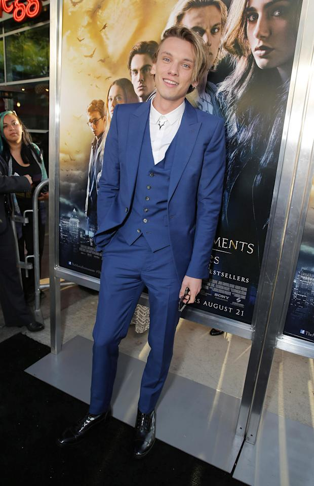 Jamie Campbell Bower seen at Screen Gems 'The Mortal Instruments: City of Bones' Los Angeles Premiere, on Monday, August, 12, 2013 in Los Angeles. (Photo by Eric Charbonneau/Invision for Screen Gems/AP Images)