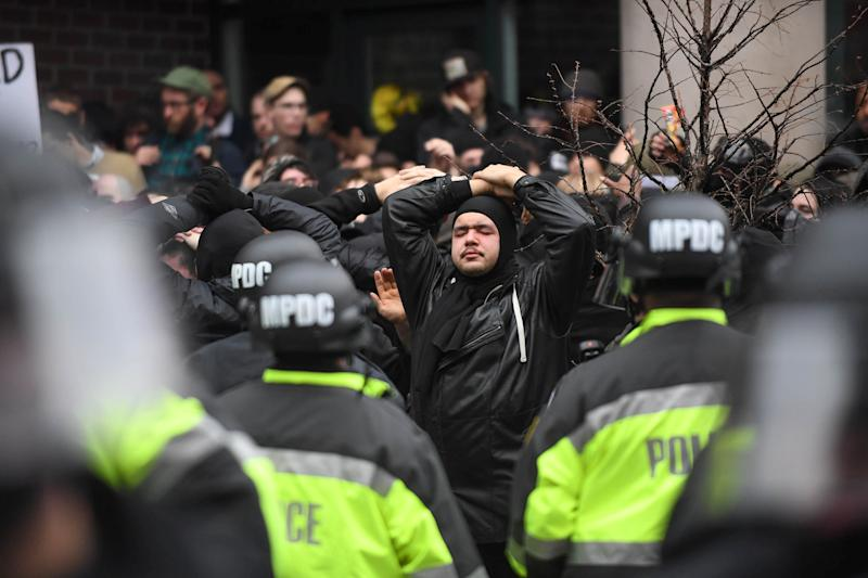Protesters are surrounded by police in D.C. (Bryan Woolston/Reuters)