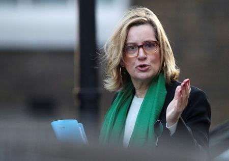 FILE PHOTO: Britain's Home Secretary Amber Rudd arrives in Downing Street in London, February 6, 2018. REUTERS/Hannah McKay/File Photo