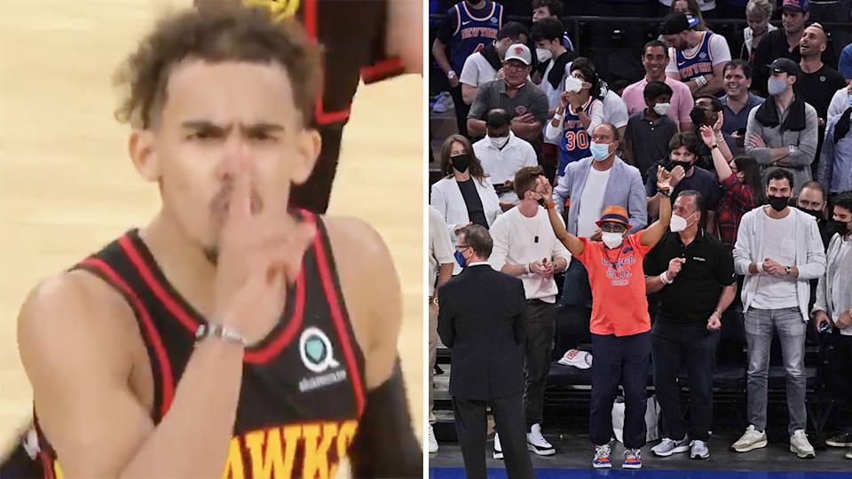 Atlanta Hawks guard Trae Young silenced the largest NBA crowd seen since the coronavirus pandemic began with a stunning last second game-winner at Madison Square Garden against the New York Knicks. Pictures: TNT/Getty Images