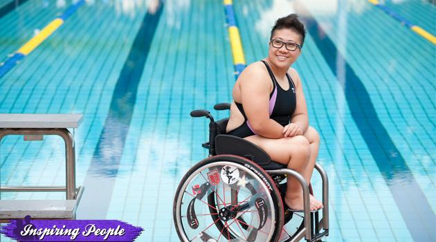 Paralympic swimmer Theresa Goh turns her disability into a triumph for herself and disability sports in S'pore. (Alan Lim Studio photo)
