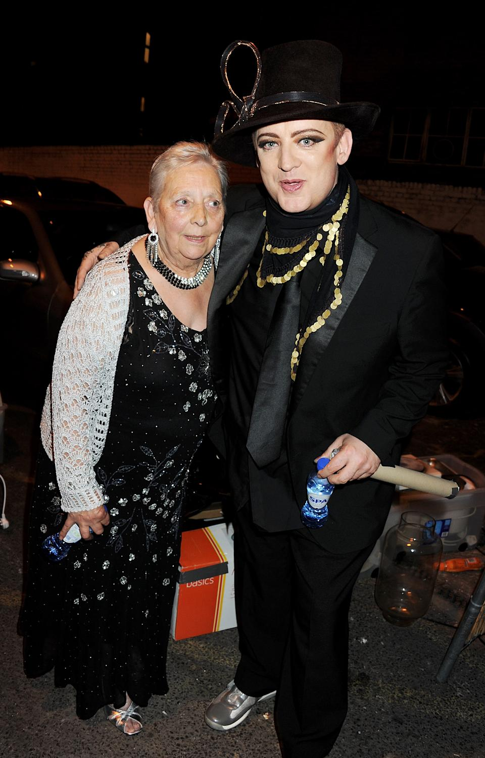 LONDON, ENGLAND - JUNE 14:  (EMBARGOED FOR PUBLICATION IN UK TABLOID NEWSPAPERS UNTIL 48 HOURS AFTER CREATE DATE AND TIME. MANDATORY CREDIT PHOTO BY DAVE M. BENETT/GETTY IMAGES REQUIRED)  Boy George (R) and mother Dinah O'Dowd attend Boy George's 50th Birthday celebration on June 14, 2011 in London, England.  (Photo by Dave M. Benett/Getty Images)
