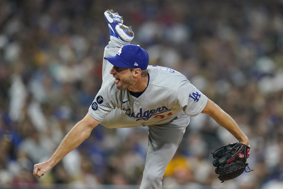 Los Angeles Dodgers starting pitcher Max Scherzer works against a San Diego Padres batter during the fourth inning of a baseball game Thursday, Aug. 26, 2021, in San Diego. (AP Photo/Gregory Bull)