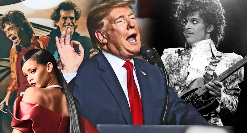 President Trump's rallies have featured many artists who don't support him politically. (Photo: Getty Images/composite: Quinn Lemmers for Yahoo Entertainment)