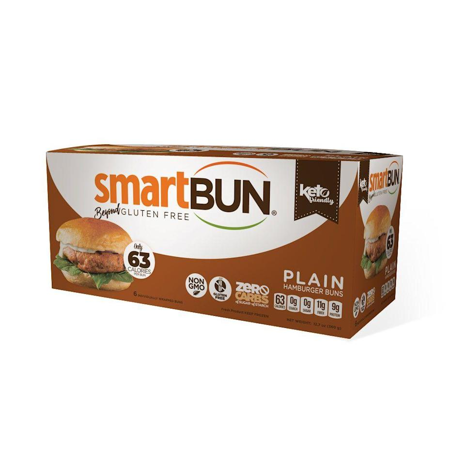 "<p>smartbakingco.com</p><p><strong>$9.99</strong></p><p><a href=""https://smartbakingco.com/shop/plain-smartbun-4-pack/"" rel=""nofollow noopener"" target=""_blank"" data-ylk=""slk:Shop Now"" class=""link rapid-noclick-resp"">Shop Now</a></p><p>These burger buns are low carb (0g net carbs) <em>and </em>low calorie, with just about 70 per bun.</p>"