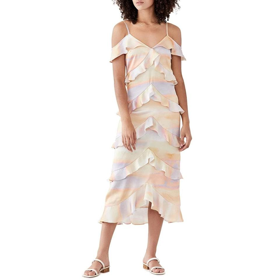 """Twirl warmer-than-usual nights away in this cold-shoulder ruffle dress, which is perfect for slow dancing under a curtain of fairy lights. $139, Amazon. <a href=""""https://www.amazon.com/Never-Fully-Dressed-Womens-Sunset/dp/B09615WXT5"""" rel=""""nofollow noopener"""" target=""""_blank"""" data-ylk=""""slk:Get it now!"""" class=""""link rapid-noclick-resp"""">Get it now!</a>"""