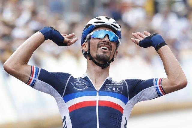 Julian Alaphilippe successfully defended his road race title at the World Road Cycling Championships