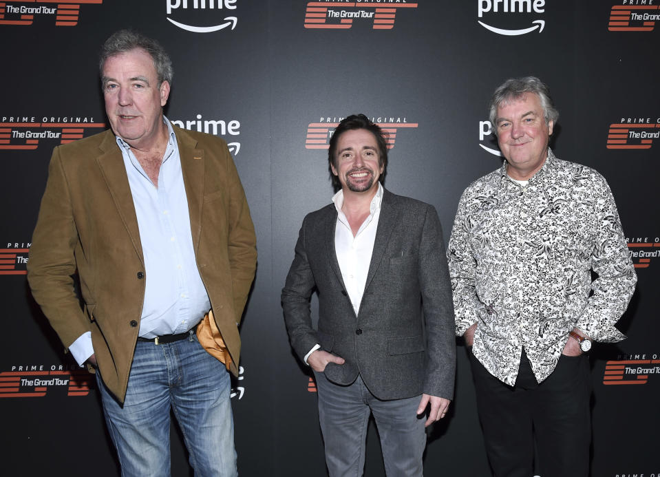 "Jeremy Clarkson, left, Richard Hammond and James May attend Amazon's ""The Grand Tour"" season two premiere in New York. (Evan Agostini/Invision/AP)"