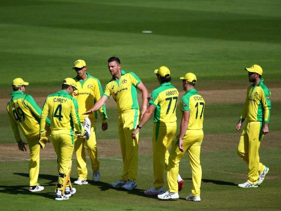 Josh Hazlewood takes part in Australia's warm-up game at the Ageas Bowl (Getty Images)