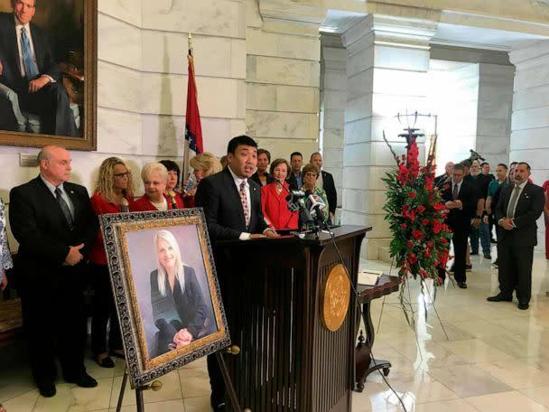 PHOTO: Ken Yang, former communications director for former state Sen. Linda Collins, speaks at an event remembering Collins at the state Capitol, June 11, 2019, in Little Rock, Ark. (Andrew Demillo/AP, FILE)
