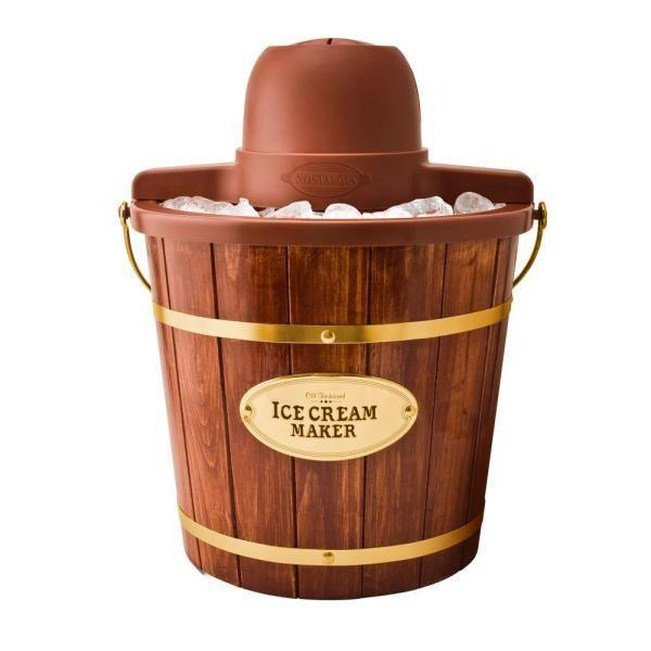 """<p><strong>Nostalgia 4-Quart Electric Ice Cream Maker </strong></p><p>homedepot.com</p><p><strong>$45.99</strong></p><p><a href=""""https://go.redirectingat.com?id=74968X1596630&url=https%3A%2F%2Fwww.homedepot.com%2Fp%2FNostalgia-4-Qt-Dark-Wood-Bucket-Electric-Ice-Cream-Maker-ICMW400%2F203079944&sref=https%3A%2F%2Fwww.countryliving.com%2Fshopping%2Fg977%2Fbest-ice-cream-makers-0610%2F"""" rel=""""nofollow noopener"""" target=""""_blank"""" data-ylk=""""slk:Shop Now"""" class=""""link rapid-noclick-resp"""">Shop Now</a></p><p>This no-churn maker sports a powerful electric motor, so you don't have to wear yourself out turning a handle—but the beautiful wood exterior still takes us back.</p>"""