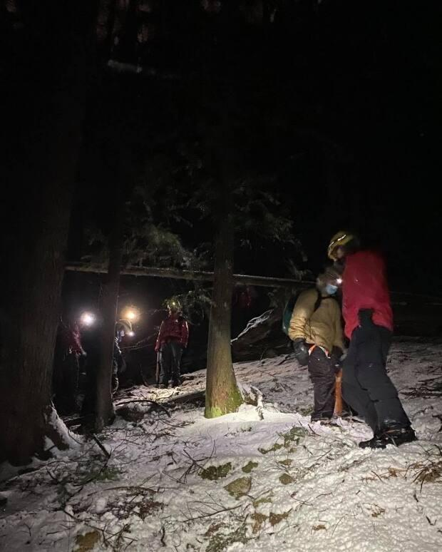 Rescuers had to use 100 metres of rope to pull two hikers out from steep terrain on Grouse Mountain on Feb. 14.