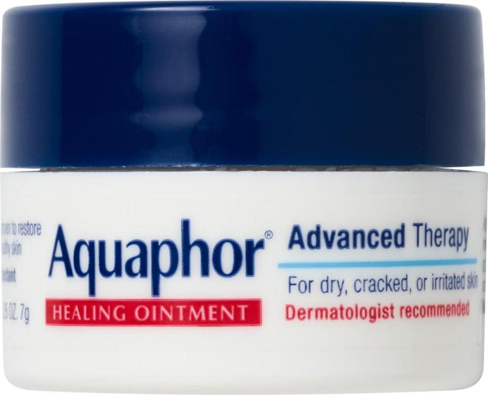 <p>Use the <span>Aquaphor Healing Ointment Mini Jar</span> ($3) has lip balm or to give your dry skin some extra love where ever you go.</p>