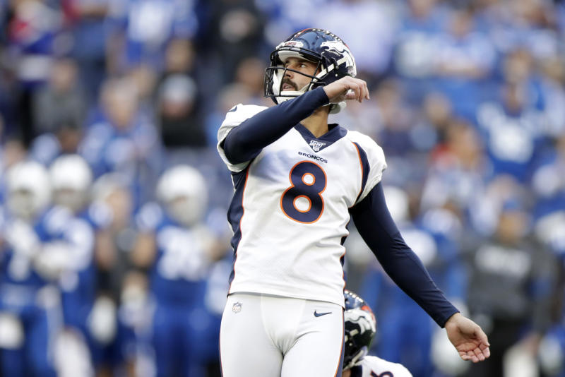 Denver Broncos' Brandon McManus watches his field goal during the first half of an NFL football game against the Indianapolis Colts, Sunday, Oct. 27, 2019, in Indianapolis. (AP Photo/Michael Conroy)