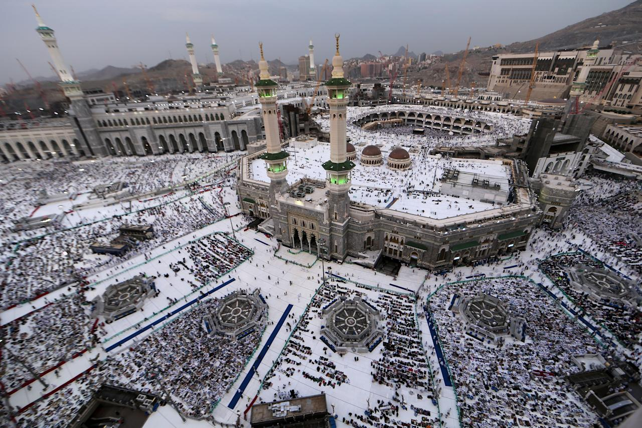 Muslim pilgrims pray at the Grand Mosque in the holy Saudi city of Mecca, on Aug. 29, 2017, on the eve of the start of the annual hajj pilgrimage. (Photo: Karim Sahib/AFP/Getty Images)