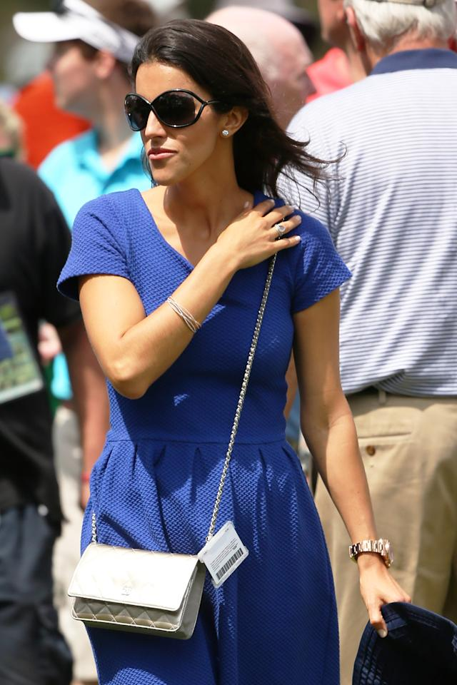 AUGUSTA, GA - APRIL 11:  Diane Donald, the wife of Luke Donald of England, walks the couse, during the first round of the 2013 Masters Tournament at Augusta National Golf Club on April 11, 2013 in Augusta, Georgia.  (Photo by Mike Ehrmann/Getty Images)