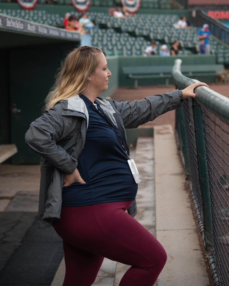 Courtney Knichel, general manager of the Southern Maryland BlueCrabs, is having her third child in September. But it hasn't stopped her from doing her job.