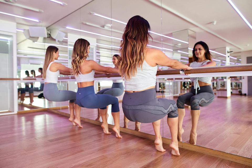 Maria Eleftheriou (right), head of barre at Psycle London, feeling the burn (Psycle)