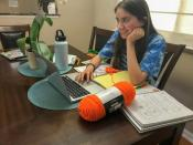 Zoe Isabella Rosales attends a medical careers class via Zoom at her home in Yuba City