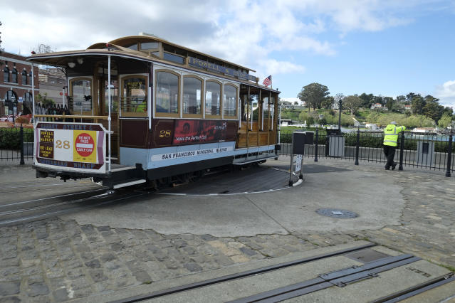 An idle San Francisco cable car operator at the once-thriving Hyde Street turnaround, March 16, 2020. (Eric Risberg/AP)