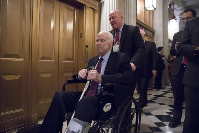 <p>Senate Armed Services Chairman John McCain, R-Ariz., arrives for votes on Capitol Hill in Washington, Monday evening, Nov. 27, 2017. President Donald Trump and Senate Republicans are scrambling to change a Republican tax bill in an effort to win over holdout GOP senators and pass a tax package by the end of the year. (AP Photo/J. Scott Applewhite) </p>