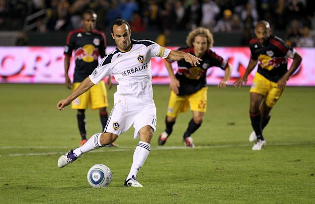 CARSON, CA - NOVEMBER 03: Landon Donovan #10 of the Los Angeles Galaxy scores on a penalty kick in the second half against the New York Red Bulls in their Western Conference Semifinal at The Home Depot Center on September 9, 2011 in Carson, California. The Galaxy won 2-1 to advance to the Conference Finals. (Photo by Stephen Dunn/Getty Images)