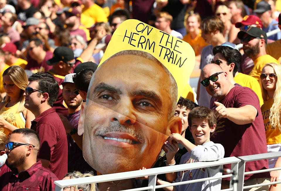 Sun Devils fans show their support of coach Herm Edwards in 2019.