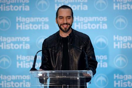 Presidential candidate Nayib Bukele of the Great National Alliance (GANA) speaks during a news conference after the presidential election in San Salvador, El Salvador, February 3, 2019. REUTERS/Jose Cabezas