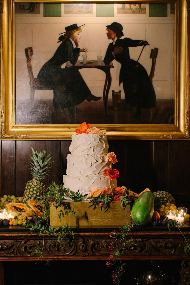 Exotic fruits spilled out from every nook and cranny—even around our cake! All edible; no fruits were forbidden!