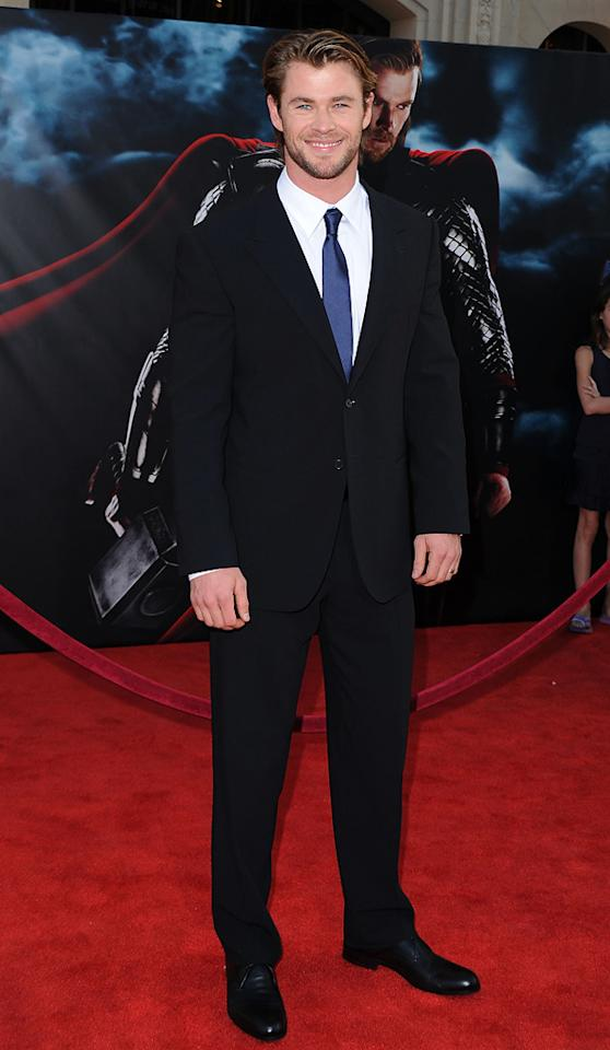 """<a href=""""http://movies.yahoo.com/movie/contributor/1809982254"""">Chris Hemsworth</a> attends the Los Angeles premiere of <a href=""""http://movies.yahoo.com/movie/1810026342/info"""">Thor</a> on May 2, 2011."""