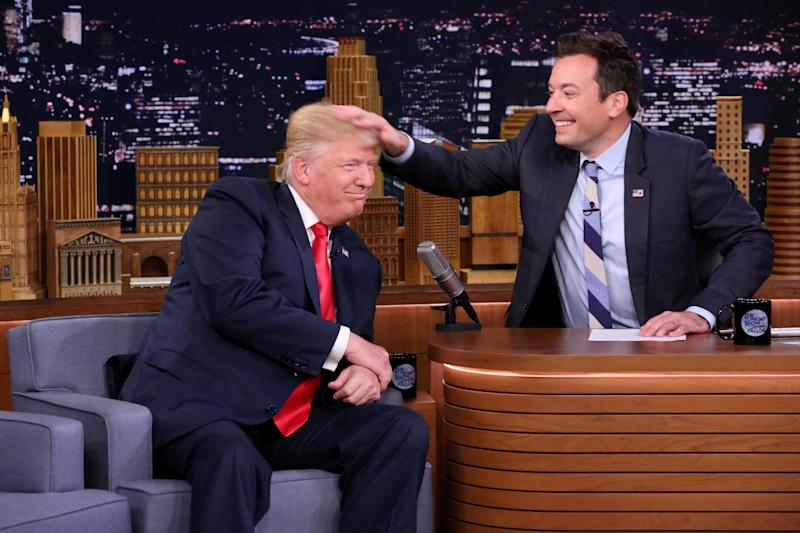 "In this image released by NBC, Republican presidential candidate Donald Trump appears with host Jimmy Fallon during a taping of ""The Tonight Show Starring Jimmy Fallon,"" Thursday, Sept. 15, 2016, in New York. (Andrew Lipovsky/NBC via AP)"