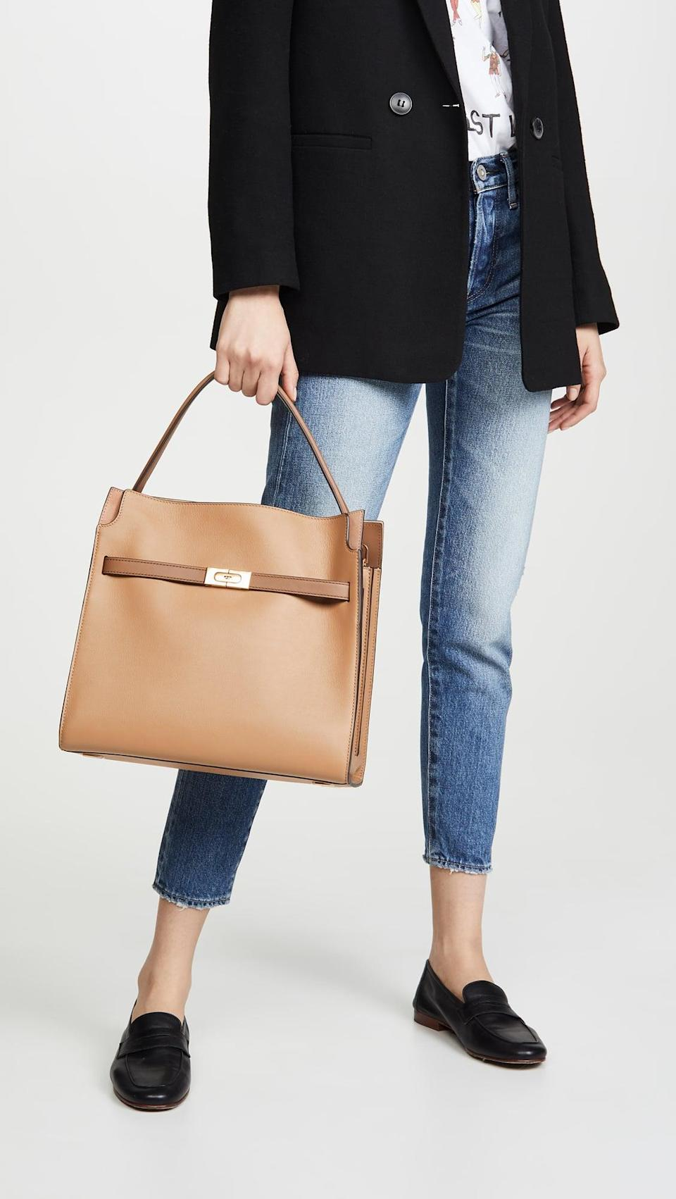 <p>This chic <span>Tory Burch Lee Radziwill Double Bag</span> ($998) will make your outfit look more polished.</p>