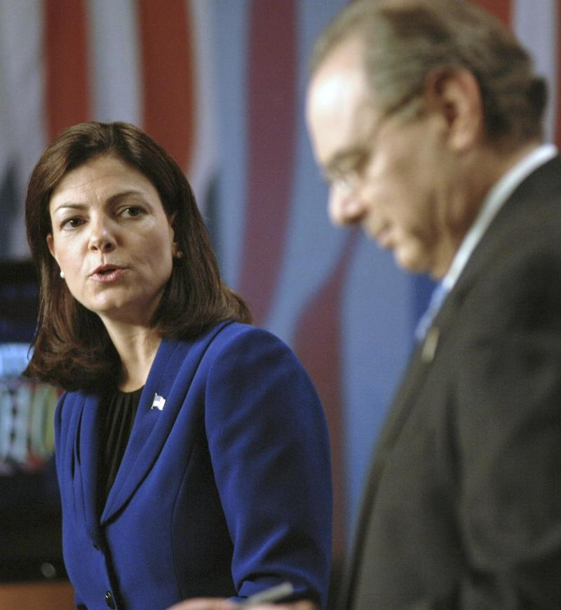 Candidates for U.S. Senate, Republican Kelly Ayotte, left, and Democrat U.S. Rep. Paul Hodes are seen before a televised debate at Saint Anselm College in Manchester, N.H., Thursday, Oct. 28,2010.(AP Photo/David Lane, Pool)