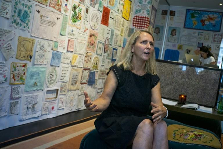 "Textile artist Diana Weymar speaks about her ""Tiny Pricks"" project at Lingua Franca store during a interview with AFP, on July 25, 2019 in New York City"