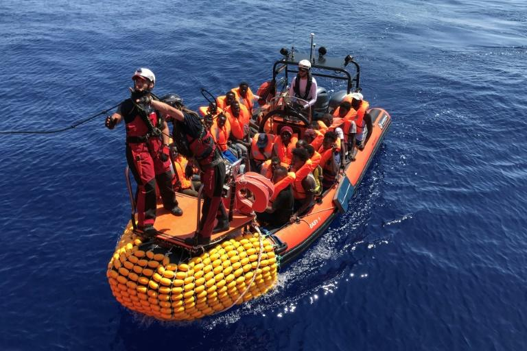 The migrants have been plucked from boats in the Mediterranean this month with weather conditions encouraging more departures from Libya (AFP Photo/Anne CHAON)