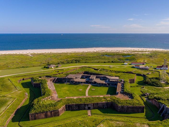 An aerial view of Fort Morgan in Gulf Shores, Alabama, with the beach behind.