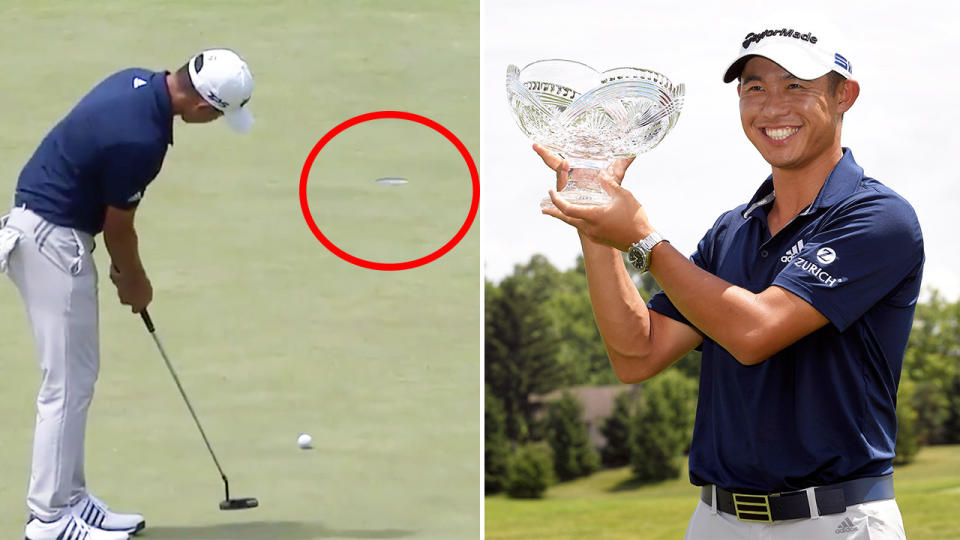 Collin Morikawa (pictured left) sinking a 24-foot putt and (pictured right) celebrating after the win. (Images: PGATour/Getty Images)