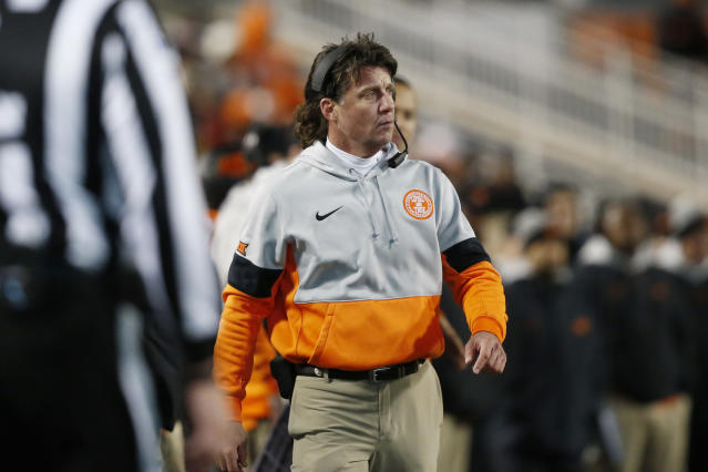 Oklahoma State's Mike Gundy has been paying a lot of attention to the coronavirus. (AP Photo/Sue Ogrocki)