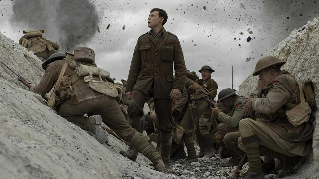 "<a href=""https://uk.movies.yahoo.com/tagged/1917"" data-ylk=""slk:1917"" class=""link rapid-noclick-resp""><em>1917</em></a> is far from the first movie to be constructed with the appearance of a single, bravura take, but it looks like an impressive one. Sam Mendes' movie, set in the trenches of the First World War, is already being <a href=""https://uk.movies.yahoo.com/rave-reviews-for-new-sam-mendes-war-movie-1917-111025277.html"" data-ylk=""slk:tipped for glory at the Oscars;outcm:mb_qualified_link;_E:mb_qualified_link"" class=""link rapid-noclick-resp yahoo-link"">tipped for glory at the Oscars</a>. It worked for <em>Birdman</em>. (Credit: eOne)"
