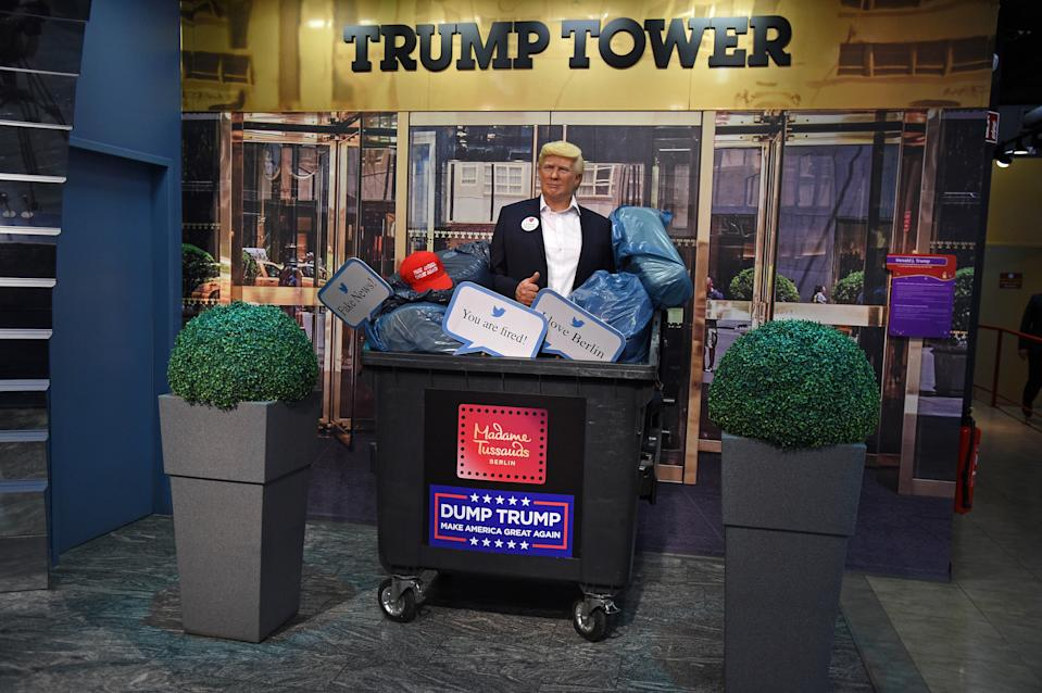 BERLIN, GERMANY - OCTOBER 30: Shortly before the US presidential elections, Madame Tussauds Berlin throws the wax figure of Donald Trump into the trash bin and dispose of it on October 30, 2020 in Berlin, Germany. They expect that he is going to lose, so say they don't need it any longer. (Photo by Tristar Media/Getty Images)