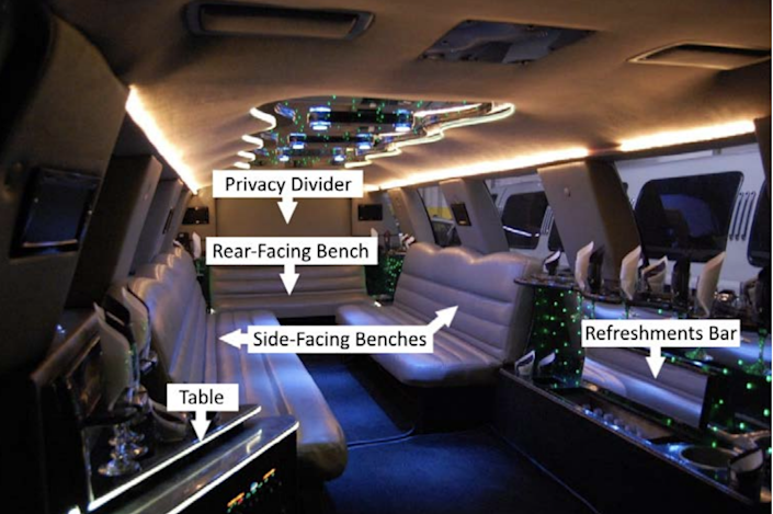 A 2010 image of the interior of the 2001 Ford Excursion limousine that wrecked in Schoharie on Oct. 6, 2018, leaving 20 dead.
