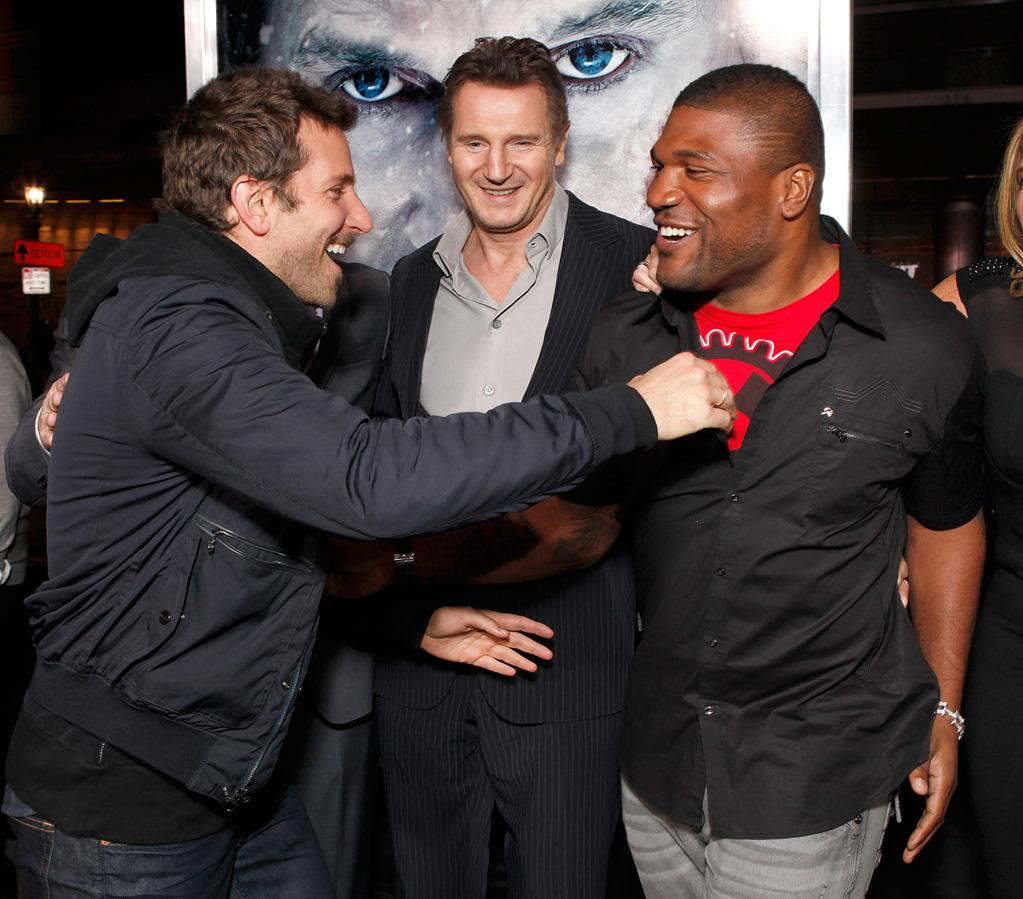 "<a href=""http://movies.yahoo.com/movie/contributor/1804751131"">Bradley Cooper</a>, <a href=""http://movies.yahoo.com/movie/contributor/1800019540"">Liam Neeson</a> and <a href=""http://movies.yahoo.com/movie/contributor/1809859793"">Quinton Jackson</a> at the Los Angeles premiere of <a href=""http://movies.yahoo.com/movie/1810227470/info"">The Grey</a> on January 11, 2012."