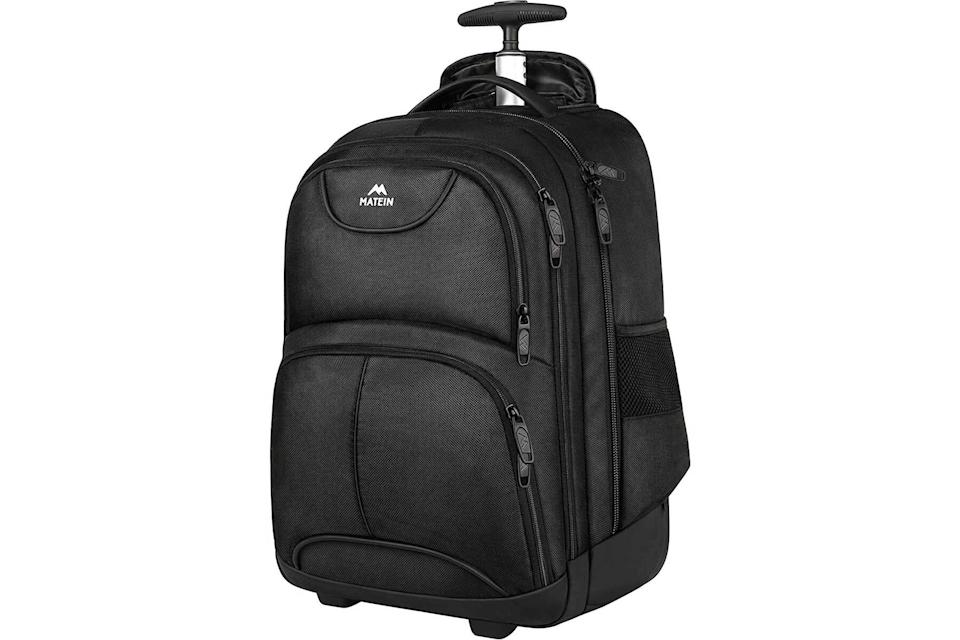 Matein Wheeled laptop backpack in black