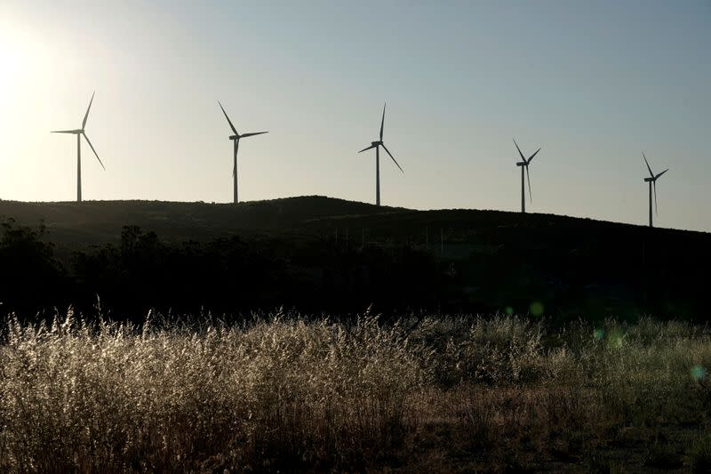 FILE PHOTO: A general view of power-generating Siemens Gamesa 2 megawatt (MW) wind turbines on the Kumeyaay Wind farm on the Campo Indian Reservation as the spread of the coronavirus disease (COVID-19) continues in Campo, California