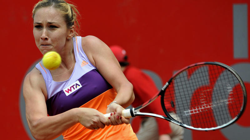 Sofia Shapatava, pictured here in action at the Bogota Open in 2014.