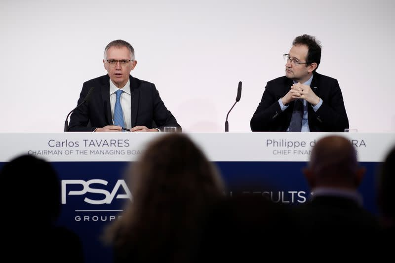 Carlos Tavares, chief executive officer of PSA Group, speaks during the annual results news conference at their headquarters in Rueil-Malmaison, near Paris