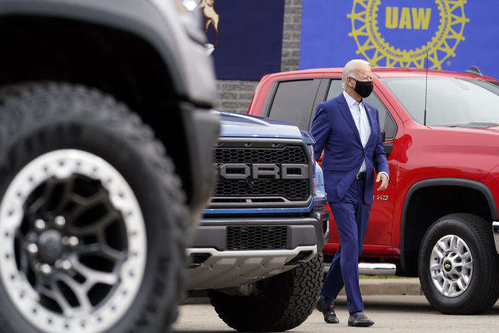 Democratic presidential candidate former Vice President Joe Biden arrives to speak during a campaign event on manufacturing and buying American-made products at UAW Region 1 headquarters in Warren, Mich., Wednesday, Sept. 9, 2020. (AP Photo/Patrick Semansky)