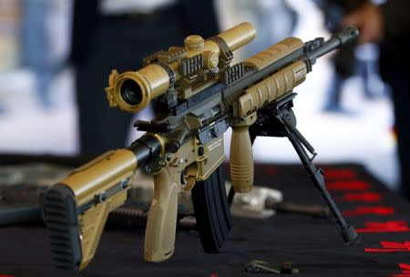 A HK417 assault rifle manufactured by Heckler & Koch is pictured during a guided media tour at their headquarters in Oberndorf, 80 kilometers southwest of Stuttgart, Germany, May 8, 2015. REUTERS/Ralph Orlowski