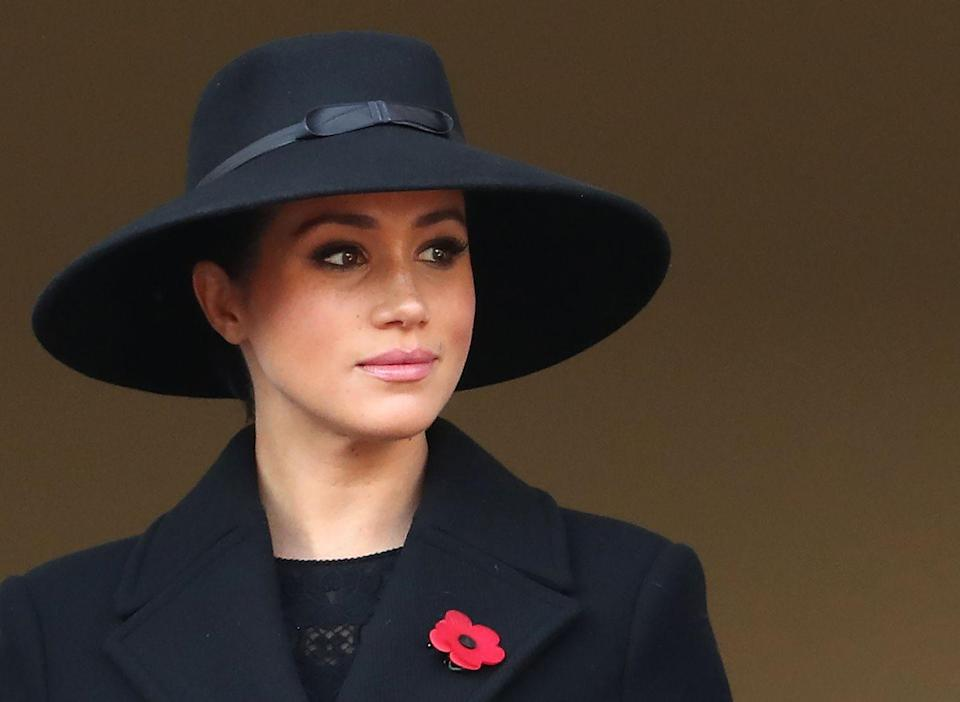 <p>Meghan attends the annual Remembrance Sunday memorial at The Cenotaph in London, England.</p>